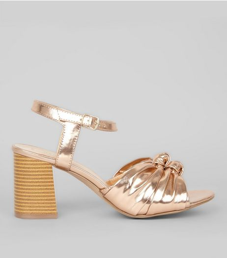 Rose Gold Knot Front Heeled Sandals | New Look