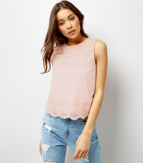 Pink Crochet Lace Trim Sleeveless Top  | New Look