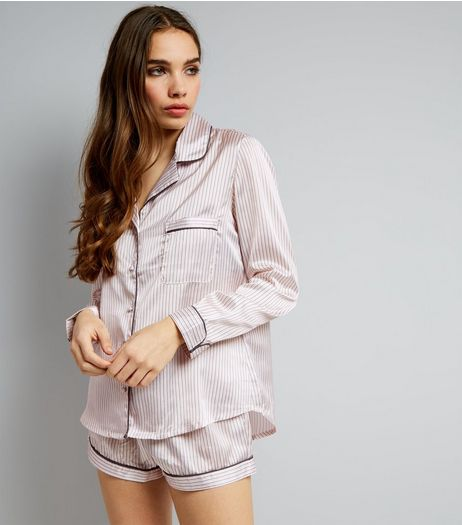 Petite Shell Pink Satin Pyjama Set | New Look