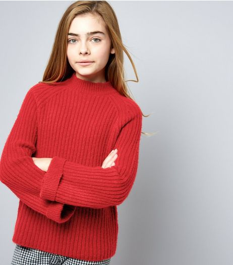 Teens Ribbed Funnel Neck Flare Sleeve Jumper | New Look