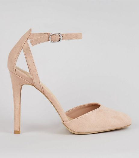 Nude Pink Suedette Ankle Strap Heels | New Look