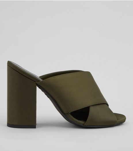 Khaki Satin Cross Strap Heeled Mules | New Look