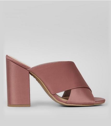 Pink Satin Cross Strap Heeled Mules | New Look