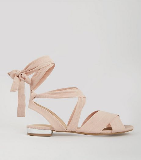 Pink Sateen Metal Trim Ankle Tie Sandals | New Look