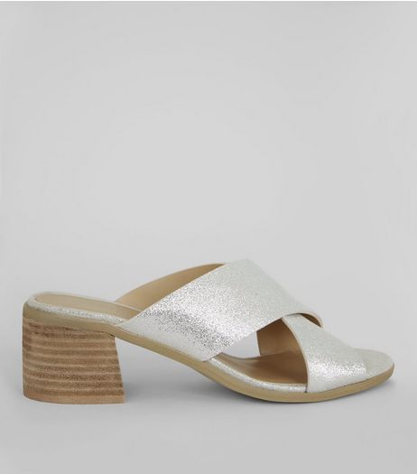 Silver Leather Cross Strap Mules | New Look