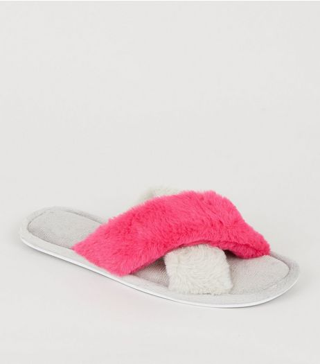 Grey Contrast Cross Faux Fur Strap Sliders | New Look