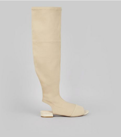 Nude Peep Toe Open Heel Over The Knee Boots | New Look