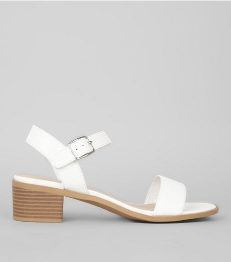 Wide Fit White Contrast Heeled Sandals | New Look