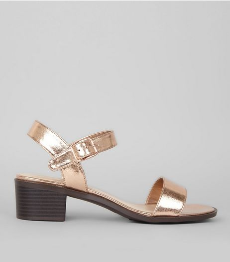 Wide Fit Rose Gold Contrast Block Heel Sandals | New Look