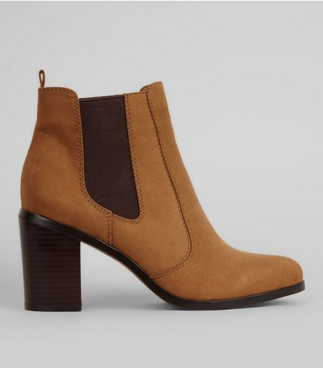 Tan Suedette Contrast Side Block Heel Boots | New Look