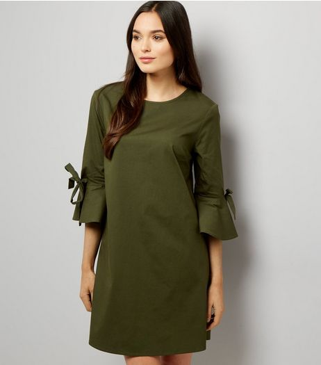 Khaki Tie Sleeve Dress  | New Look