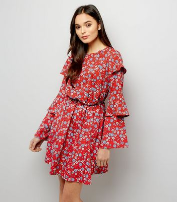 Red Ditsy Floral Print Layered Sleeve Dress