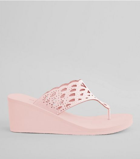 Pink Diamante Strap Wedged Flip Flops | New Look