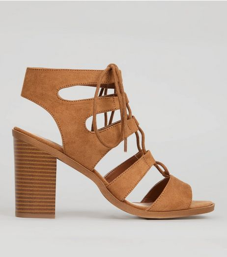 Wide Fit Tan Suedette Ghillie Block Heels | New Look
