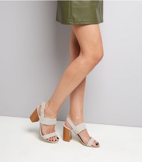 Wide Fit Grey Suedette Flared Heel Sandals  | New Look