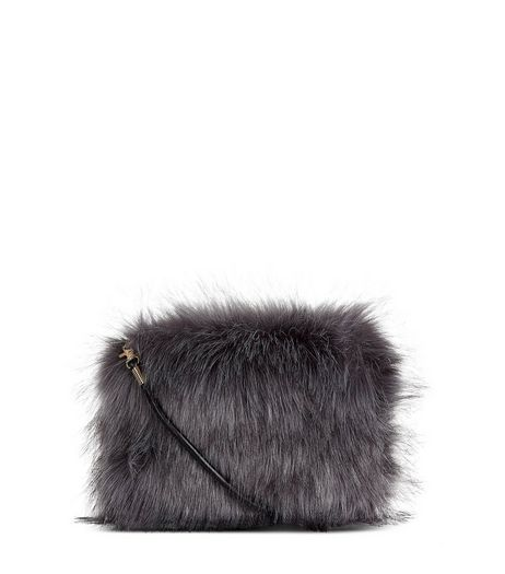 Grey Faux Fur Cross Body Bag | New Look