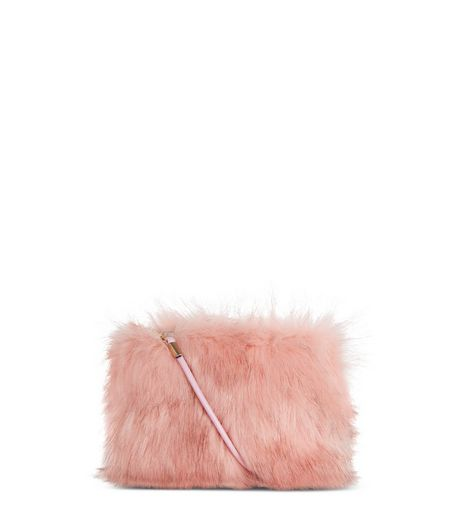 Pink Faux Fur Cross Body Bag | New Look
