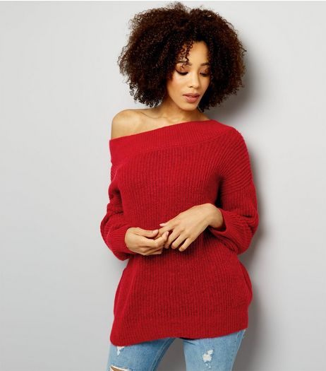 Red Bardot Neck Jumper  | New Look