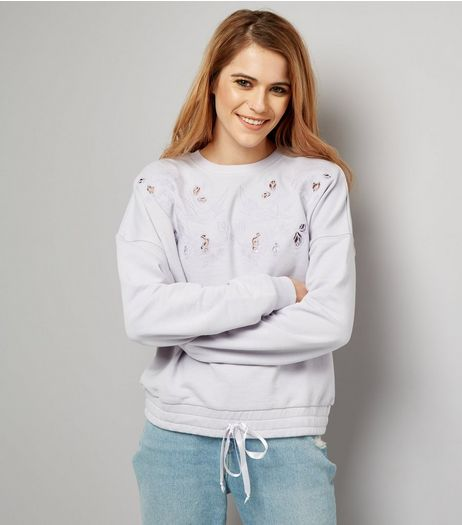 Purple Cut Out Embroidered Drawstring Hem Sweater | New Look