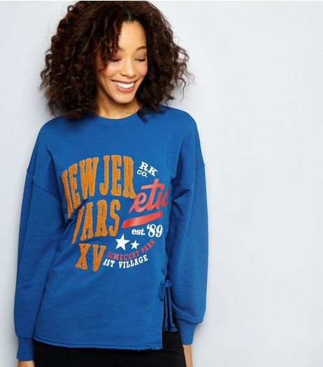 Blue New Jersey Spliced Sweater | New Look
