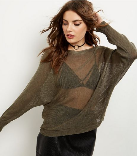 Apricot Khaki Fine Knit Batwing Jumper | New Look