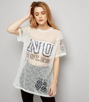 White Lace No Rules Print Baseball T-Shirt