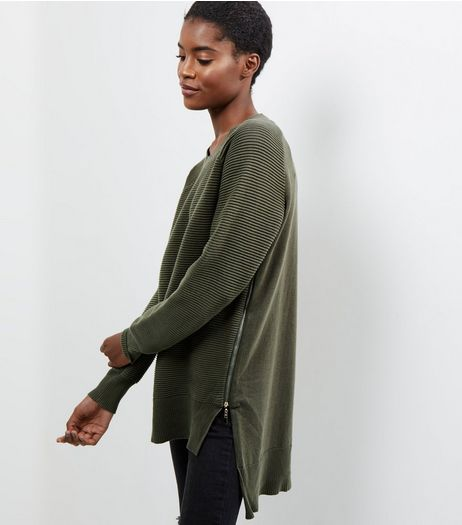 Apricot Khaki Ribbed Zip Side Longline Jumper | New Look