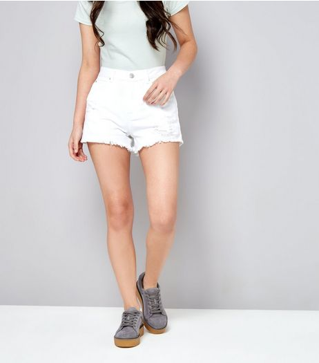 Teens White Ripped Denim Shorts | New Look
