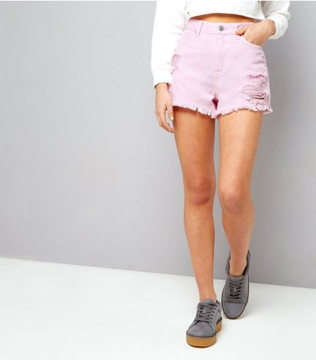 Teens Bright Pink Ripped Denim Shorts | New Look
