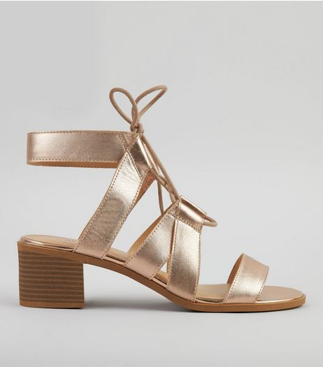Rose Gold Metallic Leather Ghillie Sandals | New Look