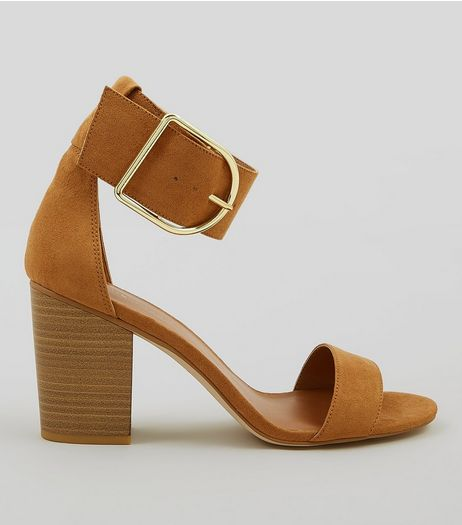 Tan Suede Buckle Strap Heels | New Look