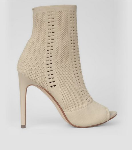 Cream Mesh Peep Toe Sock Boots | New Look
