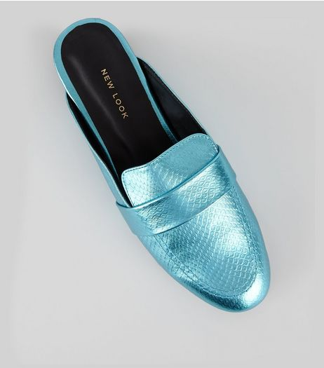 Blue Metallic Textured Loafer Mules | New Look