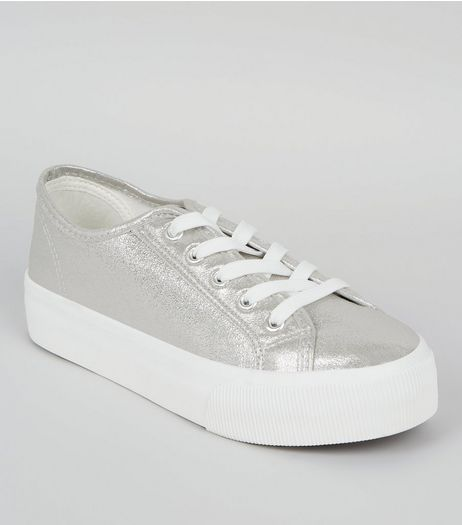 Silver Metallic Platform Trainers | New Look