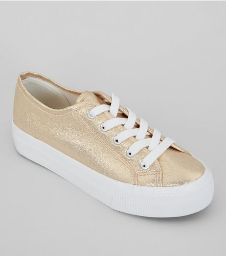 Rose Gold Glitter Platform Sole Trainers | New Look