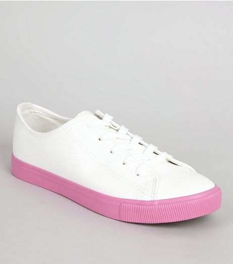 Pink Sole Contrast Lace Up Trainers | New Look