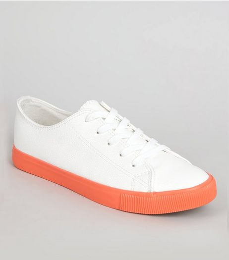 Orange Sole Contrast Lace Up Trainers | New Look
