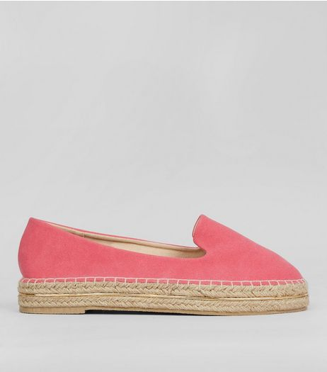 Pink Suedette Metal Trim Espadrilles | New Look