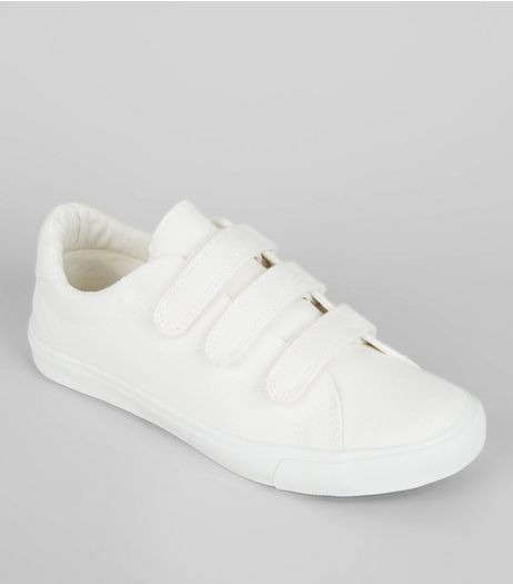 White Triple Velcro Strap Shoes | New Look