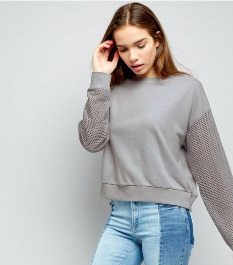 Grey Mesh Sleeve Sweater | New Look