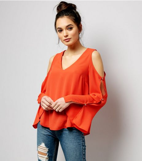 Bright Orange V Neck Cold Shoulder Top  | New Look