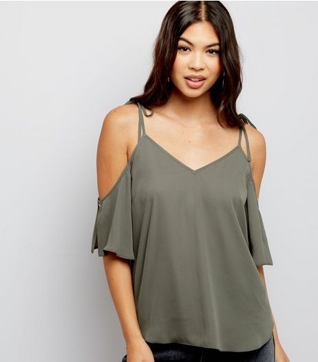 Khaki Cold Shoulder Tie Strap Top  | New Look