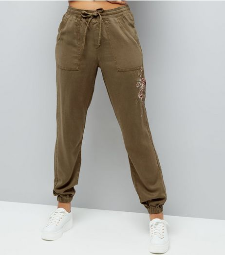 Tall Khaki Rose Embroidered Joggers | New Look