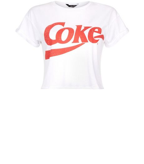 Teens White Coke Print Short Sleeve T-Shirt  | New Look