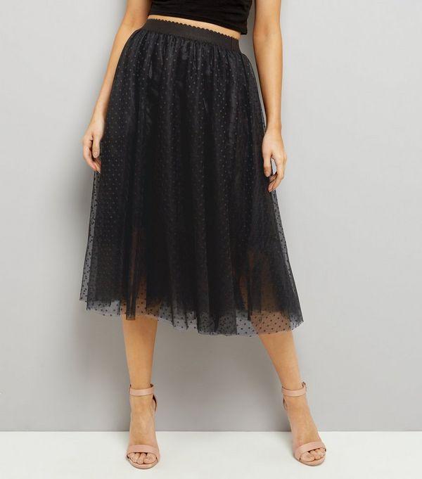 Black Spot Print Mesh Tulle Midi Skater Skirt