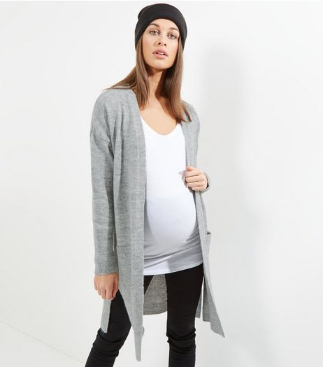 Maternity Pale Grey Ribbed Trim Longline Cardigan | New Look
