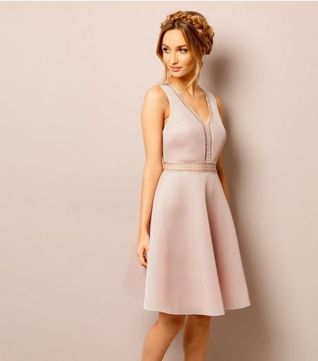 Shell Pink Lace Trim Mesh Skater Dress | New Look