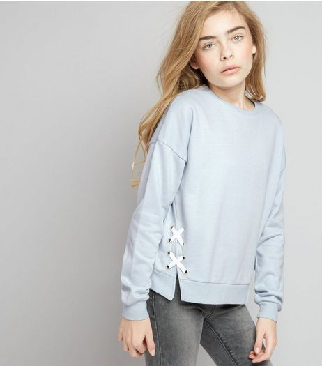 Teens Pale Blue Lace Up Side Sweater | New Look