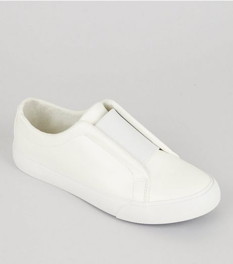Teens White Elasticated Strap Front Plimsolls | New Look