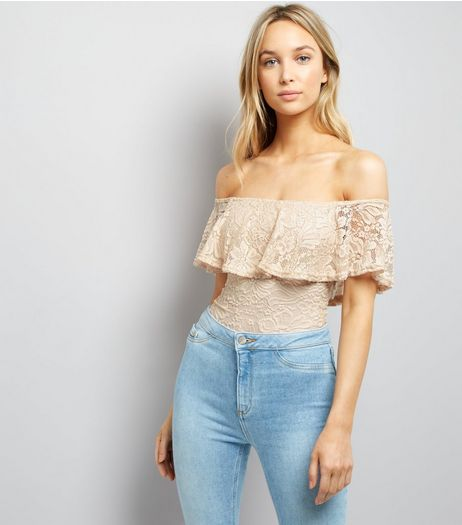 Shell Pink Lace Bardot Neck Bodysuit  | New Look